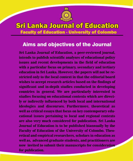 Invitation to submit manuscripts for Sri Lanka Journal of Education